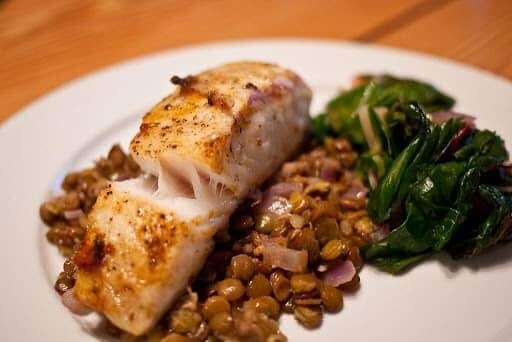 halibut on lentils with chard